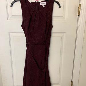 Elle floral burgundy dress with belt.